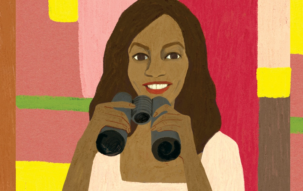 Illustration of Dominique Shelton holding binoculars
