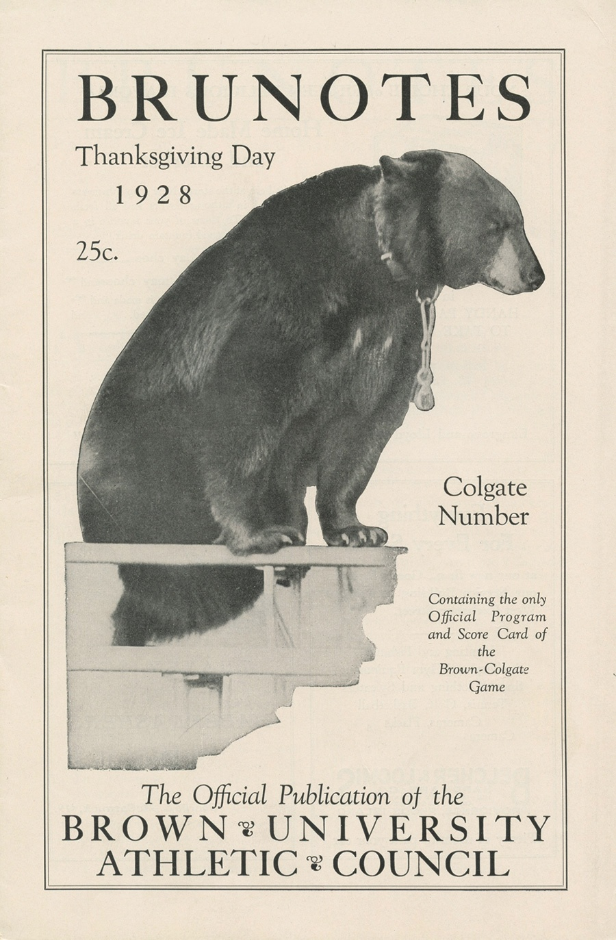 Vintage Brunotes poster from Thanksgiving 1928, featuring a bear.