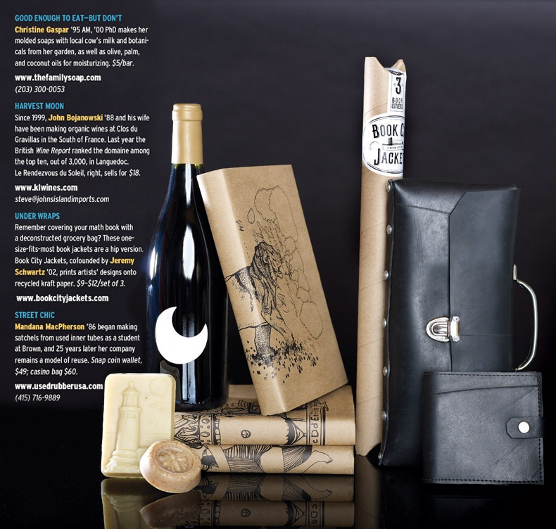 Magazine spread featuring various gift items.