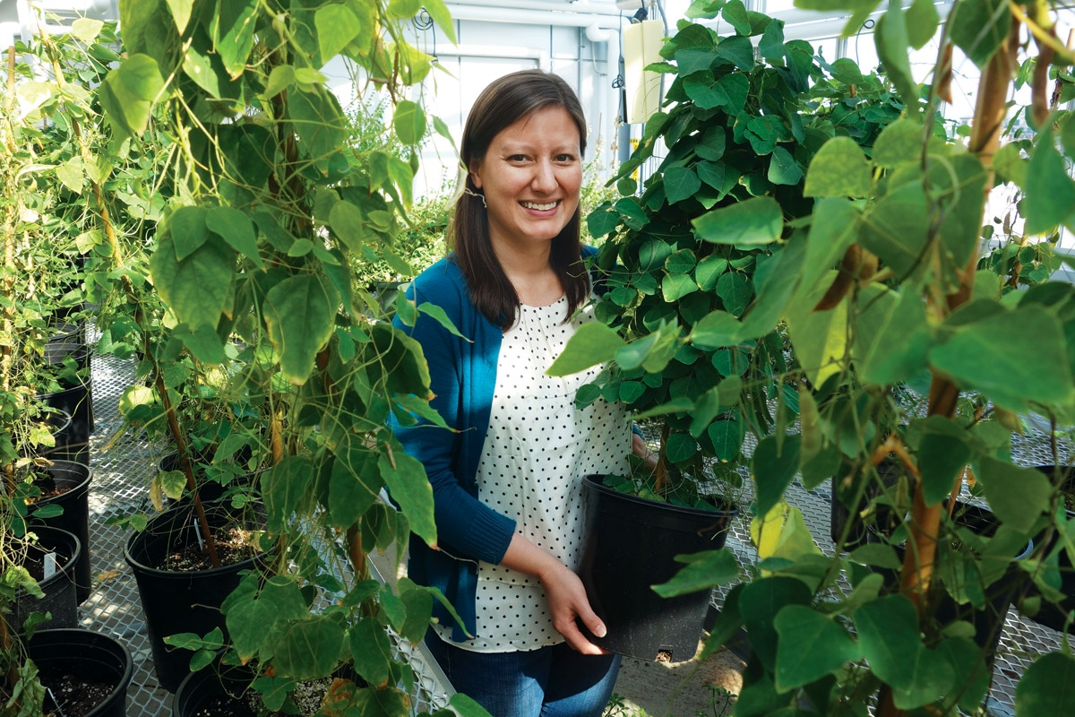 Rebecca Kartzinel surrounded by plants