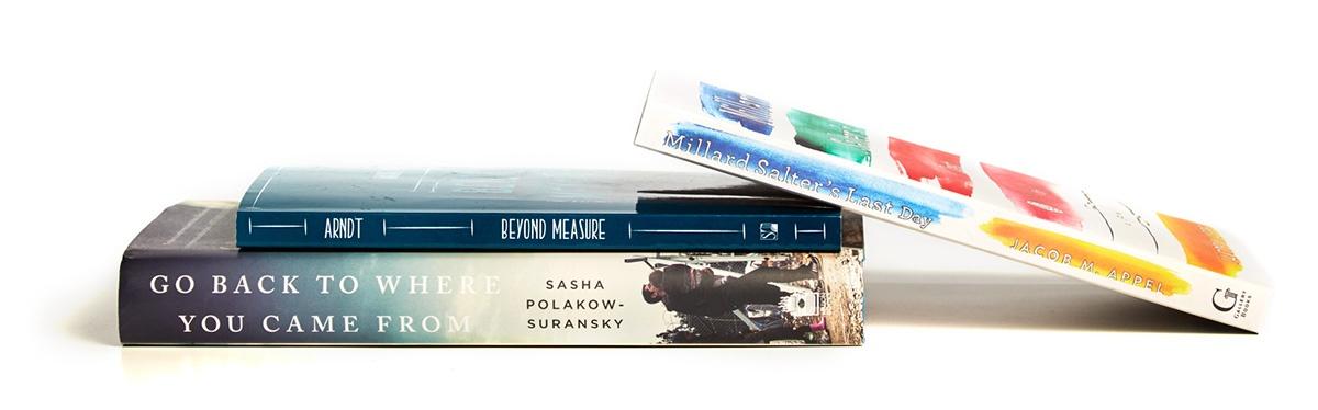 Spines of three books