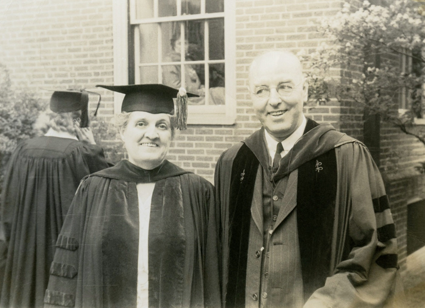 Morriss with Brown president Henry Wriston in 1949.