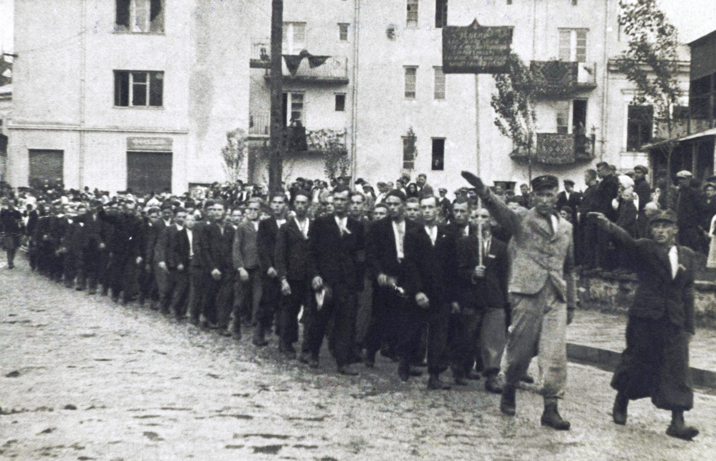 """Volunteers for Waffen-SS Division """"Galicia"""" march in Buczacz in 1943. Most, who wanted an independent Ukraine, would  end up fighting the Soviets on the eastern front."""