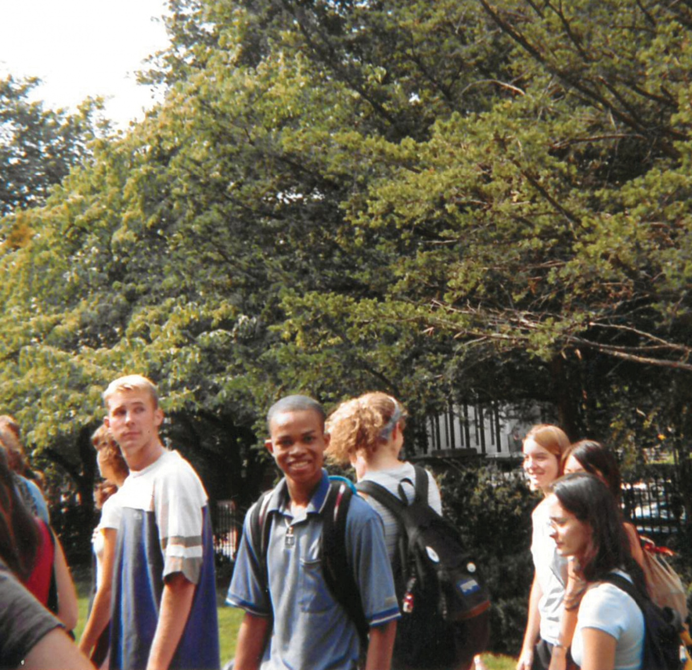 St. Clair walking through the Van Wickle Gates as a first-year in fall 2001.