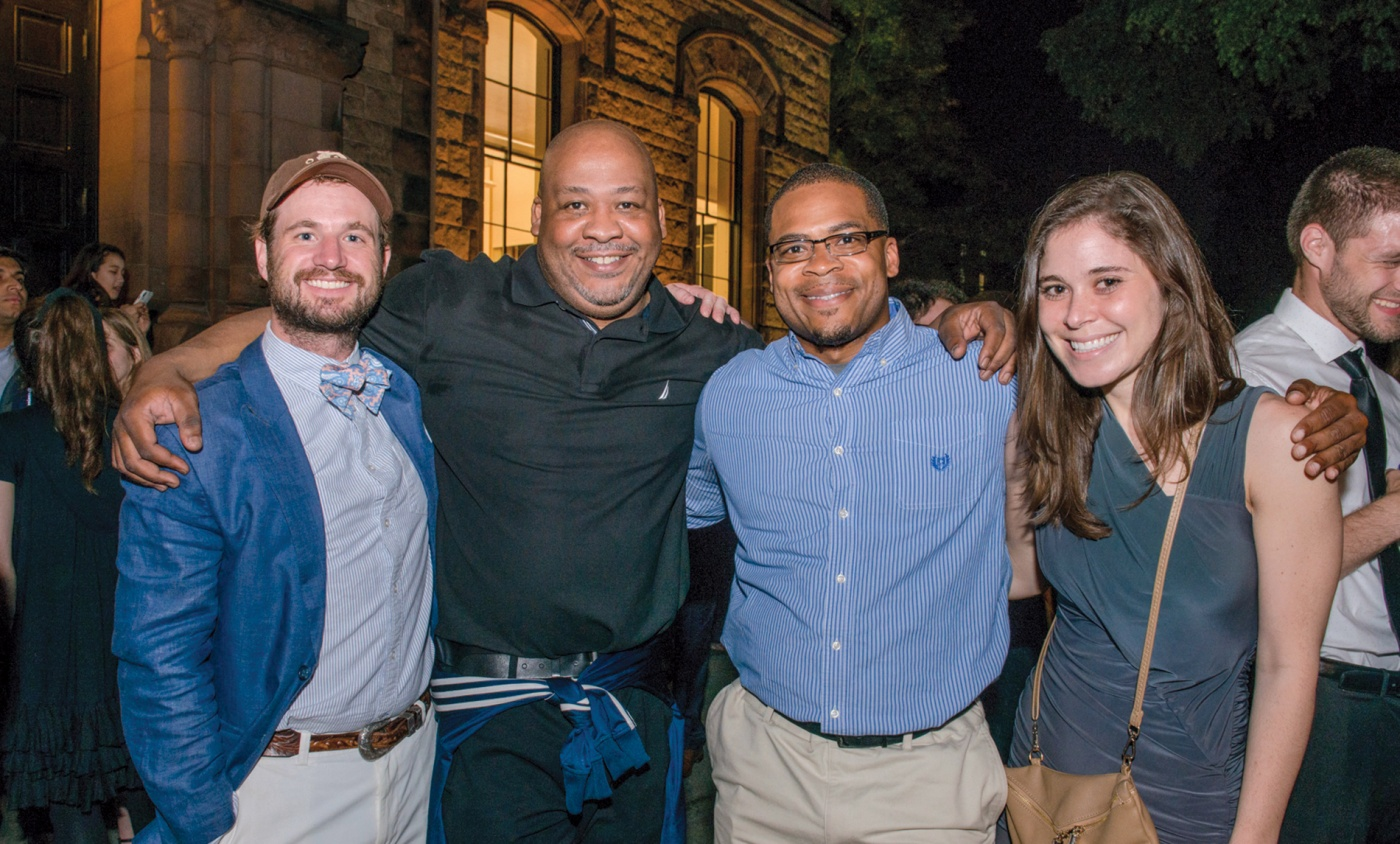 Scott Poulson-Bryant with Brown '08 buds Dobbs Hogoboom, Beau Gaitors, and Mackenzie Staffier