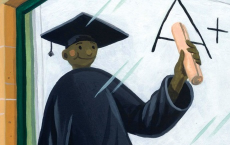"Illustration of a young man spraypainting an ""A"" on a wall, looking through a plate glass window at a seemingly identical young man in a cap and gown, holding up a diploma, with an ""A+"" seen on a whiteboard."