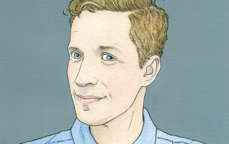 Illustration of Andrew Sean Greer '92