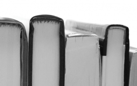 Photo of the spines of books